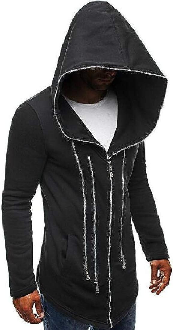 Pluszing Men Slim Fit Zipper Design Hoodie Sports Jacket Sweatshirts