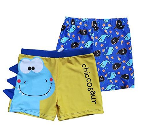 BONVERANO Boys Boardshorts UPF 50+ Sun Protection Swim Shorts with Sun Cap 2 Pack