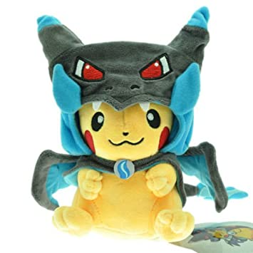 POKEMON - PIKACHU WITH MEGA CHARIZARD X CAPE - PELUCHE PIKACHU (DISFRAZ / COSPLAY / COSTUME) PIKACHU PLUSH TOY 25cm / 10