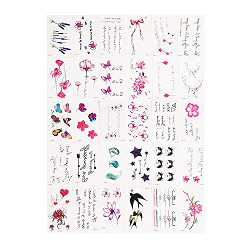 Joykith 30pcs tattoo stickers-Charming Body Art Sticker Color pattern Assorted Emoticon Styles Creative Tiny Temporary Tattoos for kids/girl/women on the heart/ankle/arm/face/clavicle (A)]()