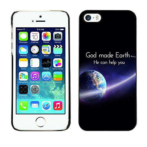 DREAMCASE Citation de Bible Coque de Protection Image Rigide Etui solide Housse T¨¦l¨¦phone Case Pour APPLE IPHONE 5 / 5S - GOD MADE EARTH, HE CAN HELP YOU