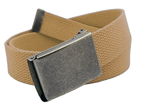 Boys School Uniform Distressed Silver Flip Top Military Belt Buckle with Canvas Web Belt Small (Canvas Kids Belt)