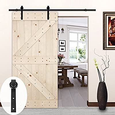LUBANN 42in.x 84in. Unfinished British Brace Knotty Pine Barn Door with 6.6ft Sliding Door Hardware Kit