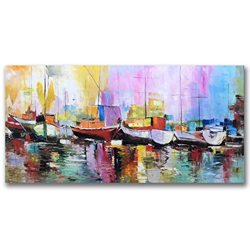 - Fasdi-ART Oil Painting Landscape Flower 3D Hand-Painted On Canvas Abstract Artwork Art Wood Inside Framed Hanging Wall Decoration Abstract Painting (DF026, 24x48inch)