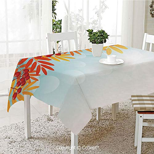 SCOXIXI Rectangle Tablecloth,Sunny Background with Red Rowan Fruits on Branches Graphic Border Design,Great for Table,Parties,Holiday Dinner(55.11