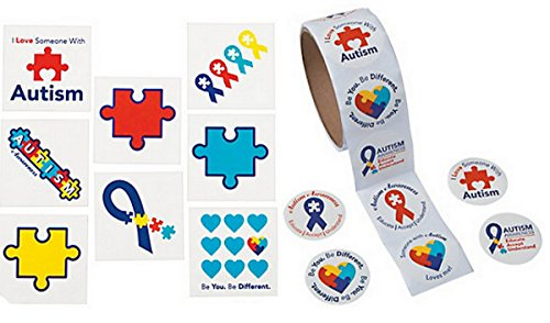 100 Stickers and 72 Tattoos Autism Awareness Bundle of 172 -