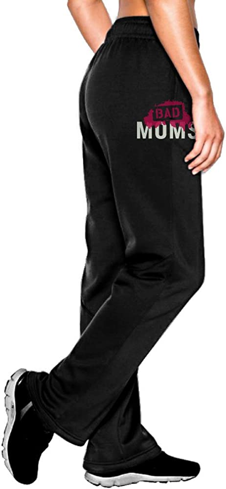 MEGGE Women's Bad Mom Elastic Athletic Lounge Pant Black