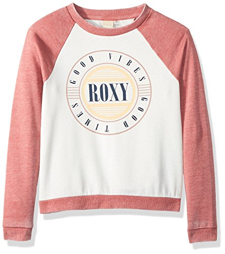 (Roxy Big Girls' Palm Bazaar Long Sleeve Fleece Top, Withered Rose, 10/M)