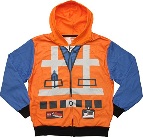 LEGO Movie Emmet Costume Zip Youth Hoodie, MD Orange