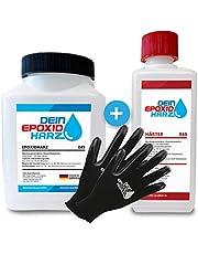 Epoxyhars met verharder, 0,8 kg GfK-set, professionele kwaliteit, glashelder en geurarm, giethars voor hout + beschermende handschoenen