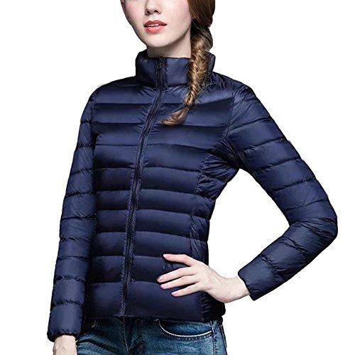 Bleu D'hiver Manches Doudoune Manteau marine Femme Légère Courte Blouson Ultra Longues Compressible 5vqABSxw