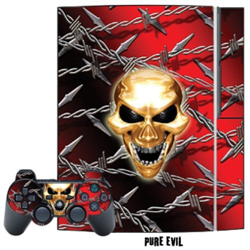 Mightyskins Protective Skin Decal Cover Sticker Compatible with Playstation 3 Console + Two PS3 Controllers - Pure Evil from MightySkins