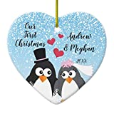 Cheyan Cute Bride Groom Penguins Our First Christmas Ceramic Xmas Trees Home Decorated Ceramic Ornaments Porcelain Ornament Personalize Souvenir