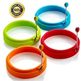 Mack 4 pcs Silicone Egg Rings Non Stick Egg Frying Rings, Fried Poached Egg Pancake Cooking Rings (Multicolor)