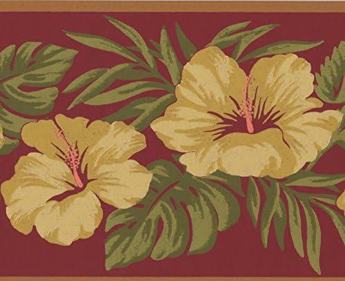 """デザインロール15 'x 7 """" による黄色の花ローズウッドピンクヴィンテージ花の壁紙のボーダーペイント"""