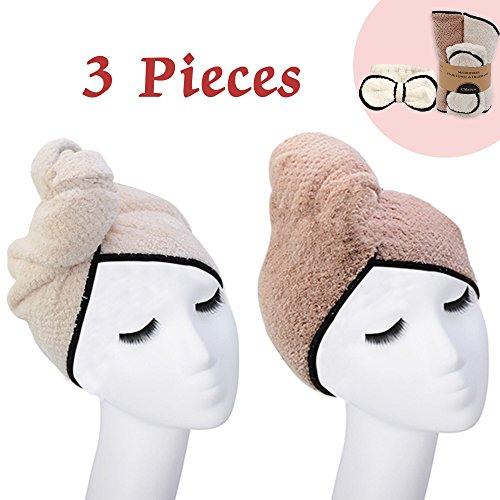 Wrap Your Hair - 3-Piece Suit Large Hair Dry Towel Cap Twist Hair Turban Wrap Drying Cap Fast Quick Drying Super Absorbent Microfiber Soft Shower Towels