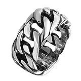 Arlumi Men's Stainless Steel Vintage Gothic Biker Link Chain Ring Band Silver Black