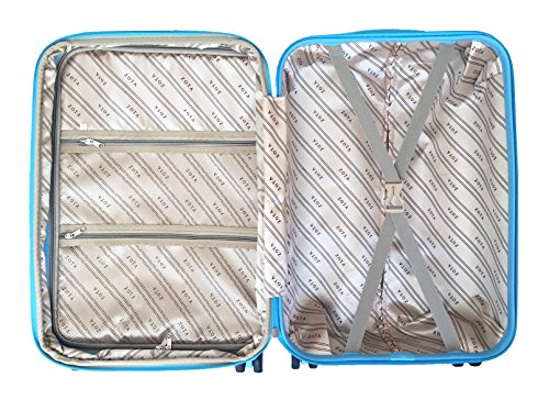 3 Pc Luggage Set Hardside Rolling 4wheel Spinner Upright Carryon Travel Sky Blue by Trendyflyer Collection (Image #5)