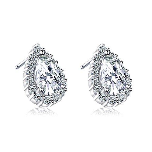 Women 18K Gold Plating Zircon Stud earrings(Rose Gold) - 6