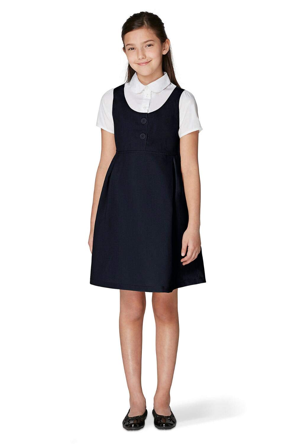 French Toast Girls' Big Peter Pan 2-fer Dress, Navy, 8