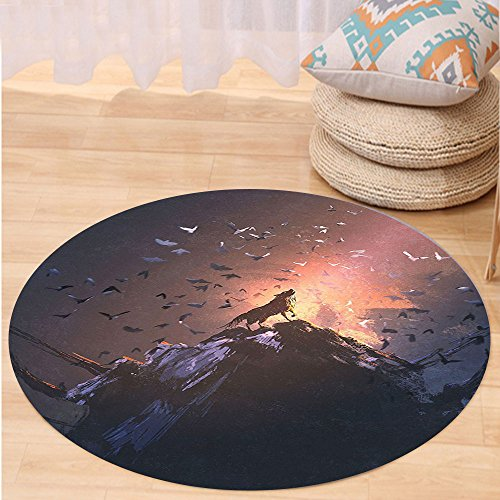 VROSELV Custom carpetFantasy World Decor Howling Wolf on a Rock Surrounded by Bats Birds Scary Dog Wild Life Animals Picture Art Bedroom Living Room Dorm Decor Multi Round 79 inches by VROSELV