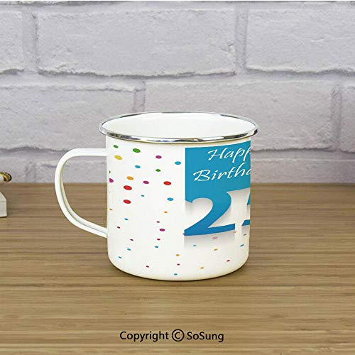 25th Birthday Decorations Enamel Camping Mug Travel Cup,Big Small Polka Dots Confetti Rain and Blue Square Hand Written,11 oz Practical Cup for Kitchen, Campfire, Home, TravelMulticolor ()