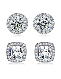 18K White Gold Plated Cubic Zirconia Simulated Diamond Halo Stud Earrings for Women Men (2 Pairs)