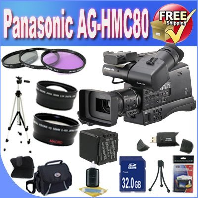 Panasonic AG-HMC80 3MOS AVCCAM HD Shoulder-Mount Camcorder + Extended Life Battery + 32GB SDHC Class 10 Memory Card + Accessory Saver Bundle! by BVI