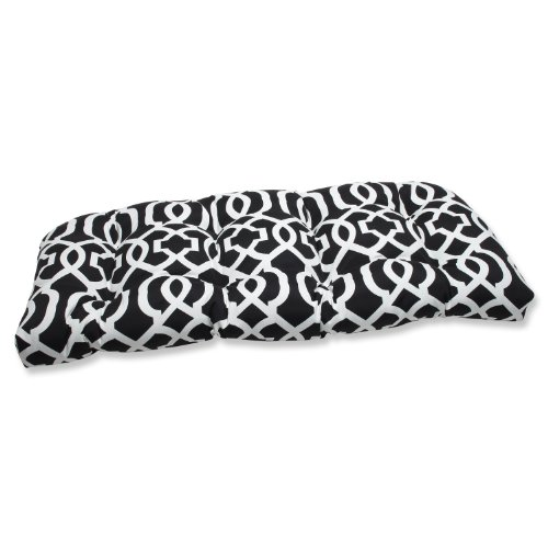 Pillow Perfect Outdoor New Geo Wicker Loveseat Cushion, Blac