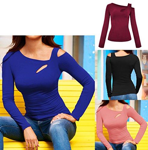paule Fashion Slim Tops Chic Jeune Manches Jumpers et T Chemisiers Oblique Hauts Shirts Longues Femmes Automne Bleu Printemps Shirts Freestyle Blouse Tee qawxZF0C