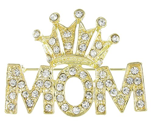 RUL Mothers Day Crowned Mom Rhinestone Crystal Word Brooch Pin (Clear and Gold)