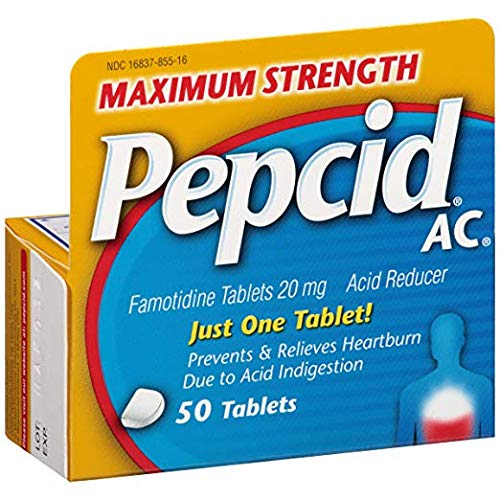 (Pepcid AC Acid Reducer Maximum Strength Tablets 4Pack (50 Count Each) Prevents Heartburn if Taken 10 to 60 Minutes)