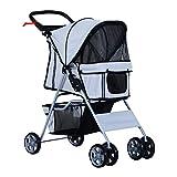 PawHut 4 Wheel Dog Pet Stroller Dog Cat Carrier Folding Sunshade Canopy with Brake Grey