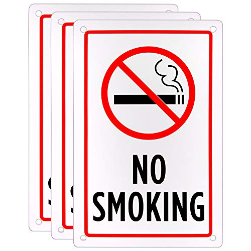 "No Smoking Sign (3-Pack) - 18"" x 12"" Aluminum Safety Warning Indoor Outdoor Sign for Parking Lots & Private Businesses from Bolthead Industrial"