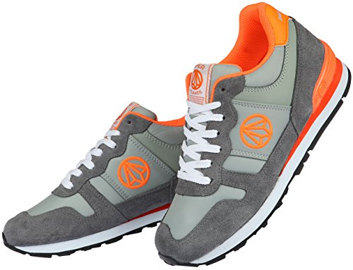 Paperplans-1303 Femmes Trendy Low Top Sport Chaussures De Course Gris Orange