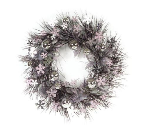 Pack of 2 Decorative Artificial Black and Silver Snowflake and Christmas Ornament Wreaths 28''- Unlit