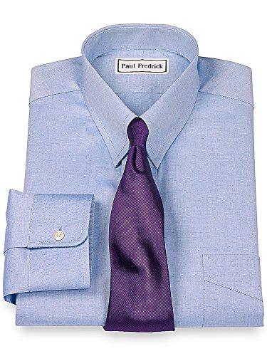 Tab Collar Shirts (Paul Fredrick Men's Slim Fit Pinpoint Snap Tab Collar Dress Shirt Blue 14.5/32)
