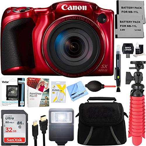 (ANMEATE PowerShot SX420 is 20MP 42x Optical Zoom Digital Camera (Red) + Two-Pack NB-11L Spare Batteries + Accessory Bundle)