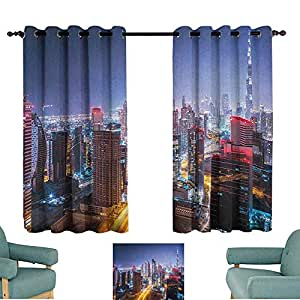 Excellent Amazon Com Sanring City Curtains Nighttime At Dubai Vivid Machost Co Dining Chair Design Ideas Machostcouk