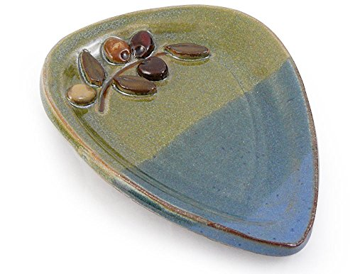 - American Made Ceramic Stoneware Spoon Rest with Olive Branch Motif