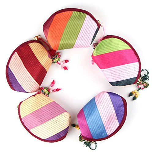 5pcs Rainbowstripe Coin Purse Jitney Bag Wallet Made of Korean Traditional Costume Hanbok -
