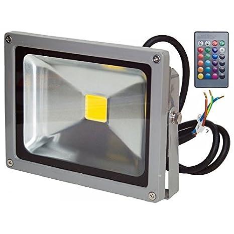 Proyector LED 30 w, protección IP65 RVB con mando a ...