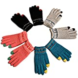 Gellwhu Touch Screen Winter Outdoor Warm Knit Mitten Gloves 4 Pack for Women Men