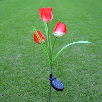 Solar Tulip Flower Lights Elstey Outdoor Solar Powered Waterproof Garden Lawn Path Landscape Decorative Illumination LED (Tulip Garden Path Light)