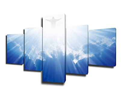 Amazon.com: Jesus Framed Picture 5 Panel Canvas for Church ...