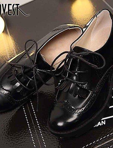NJX/ hug Damenschuhe - Ballerinas - Outddor / Büro / Kleid / Lässig - Lackleder - Niedriger Absatz - Komfort - Schwarz / Bräunlich / Burgund brown-us7.5 / eu38 / uk5.5 / cn38