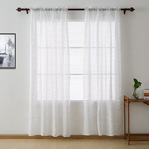 Deconovo Volie White Sheer Curtains Silver Diamond Rhombus Linen Look Window Panels for Living Room, 52x84 Inch,