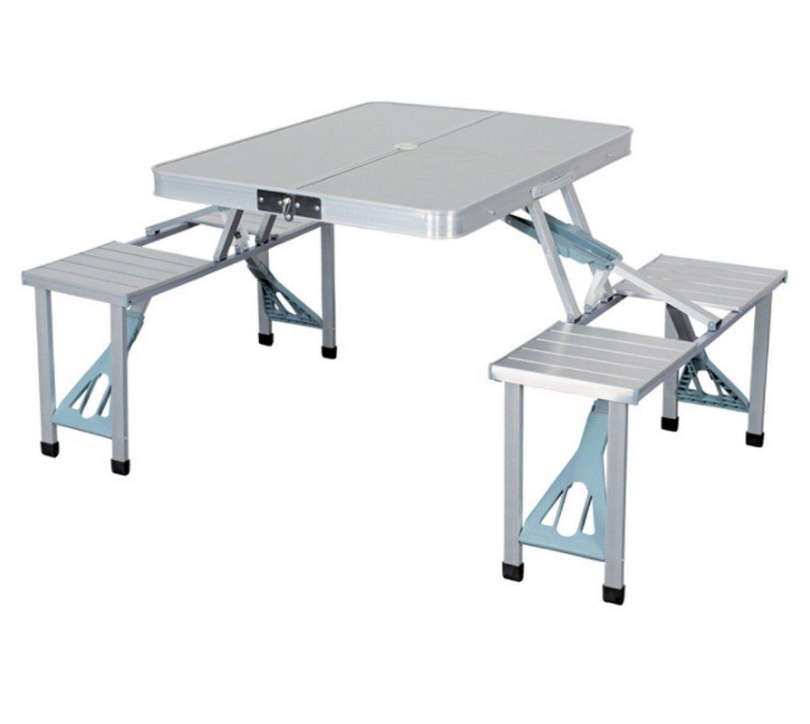 アウトドアアルミニウム合金の連体の机と椅子 テーブル セット 折りたたみ チェア 軽量 コンパクト アルミ パラソル穴付き   B07D2BH8XP