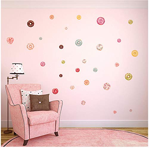 Wociaosmd Wall Sticker, Donut Decal Nursery Decal Christmas Decorations Home Decorations, 48 PCs Donut for Home Decor (Multicolor) (Wall Heart 30 Pcs Stickers)