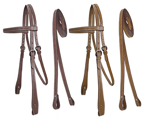 Tack Reins (Tahoe Tack Barbwire Hand Tooled Headstall with Split Reins Full Horse Size (Mahogany))